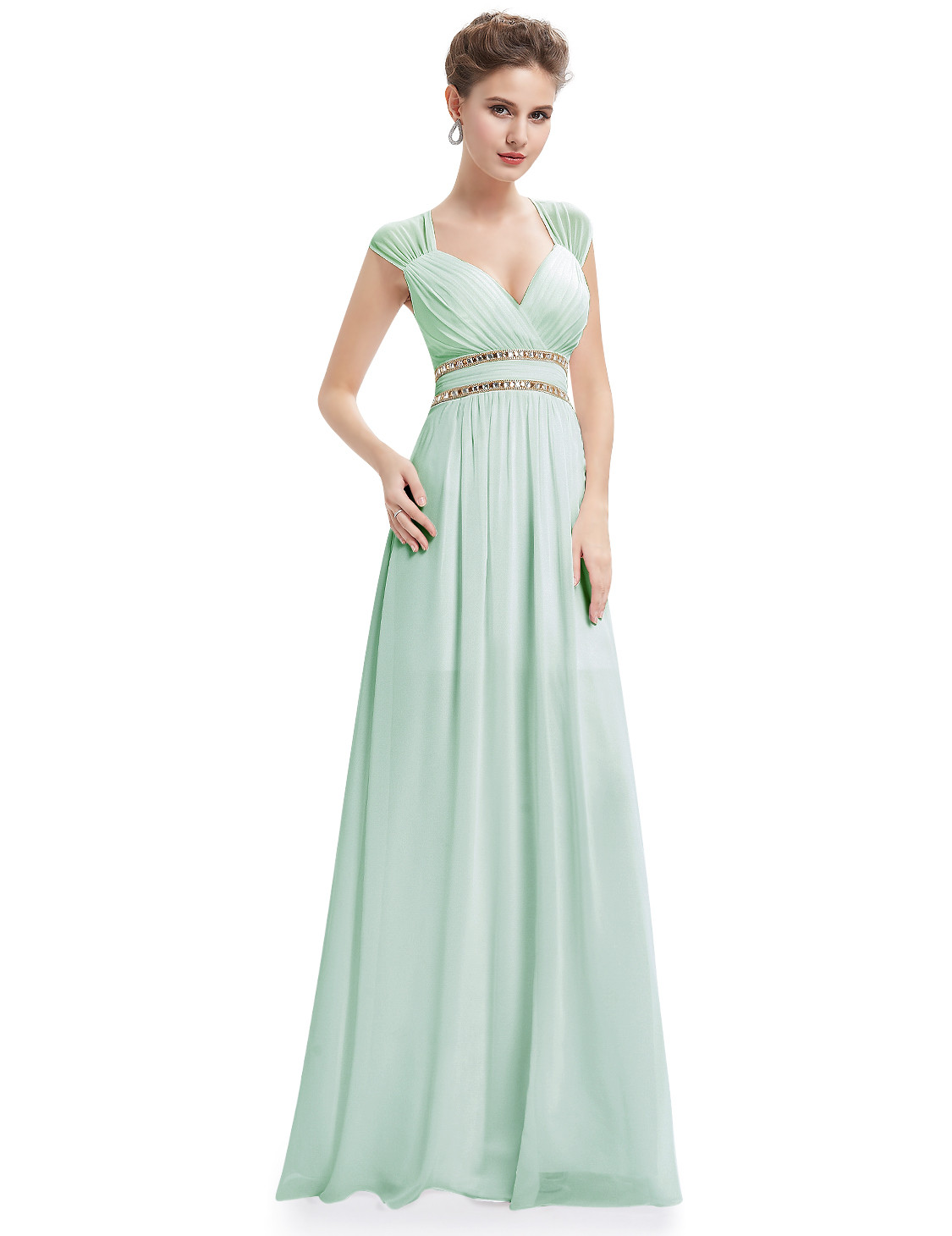 Mint Green Elegant V-neck Bridesmaid Dress