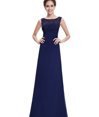 Navy Blue Deep Vee Lace Back Bridesmaid Dress