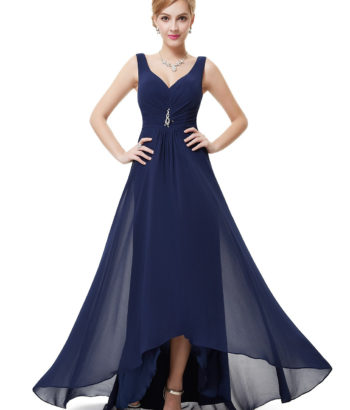 Navy Blue Double V Neck Rhinestones High Low Bridesmaid Dress Blue