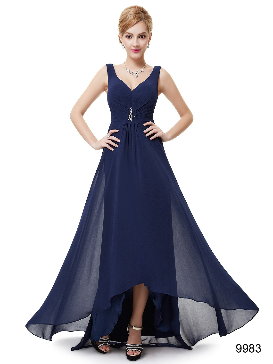Navy blue double v neck rhinestones high low bridesmaid dress blue navy blue double v neck rhinestones high low bridesmaid dress blue ombrellifo Images
