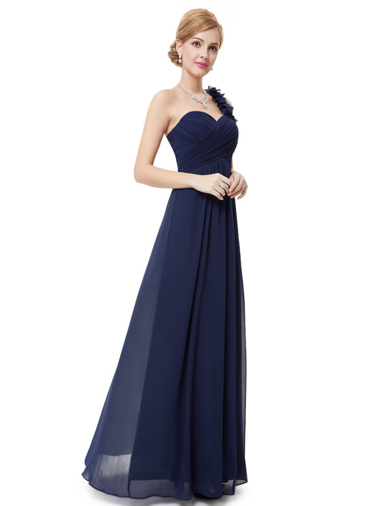 Navy Blue Flowers One Shoulder Chiffon Bridesmaid Dress