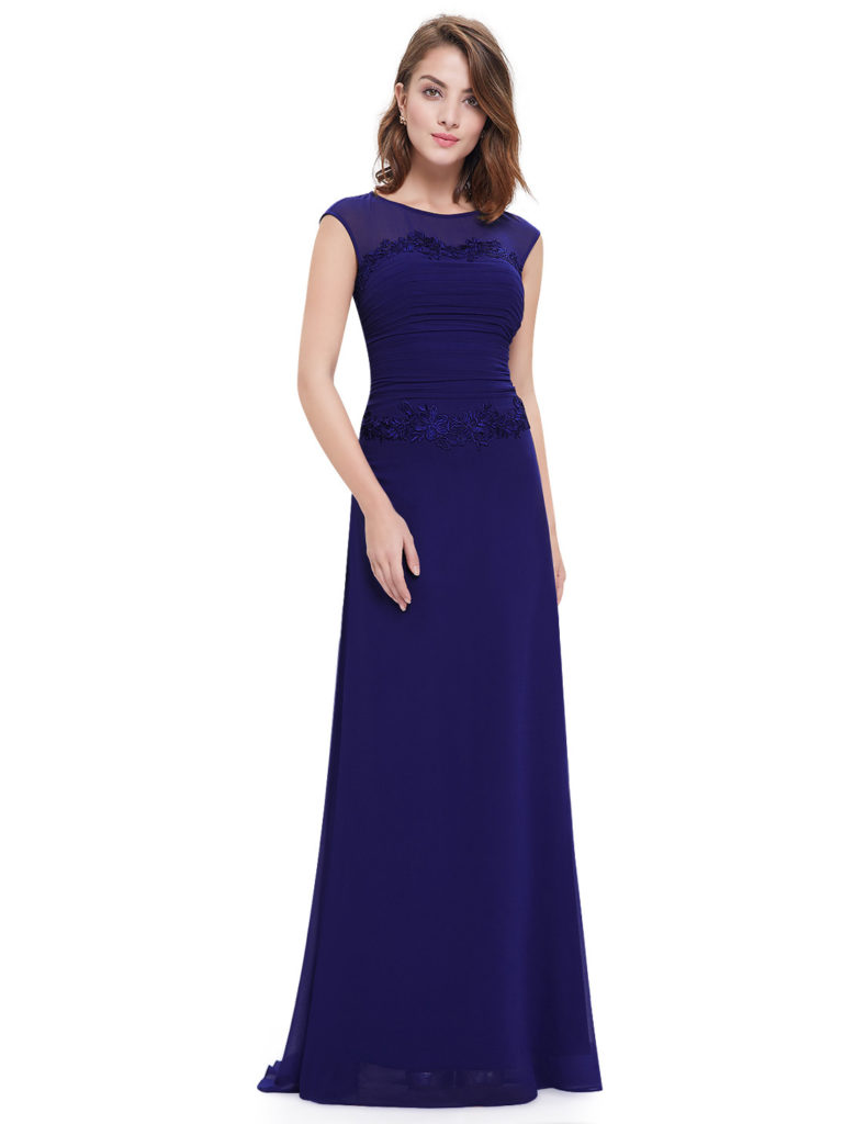 Navy Blue Lace Round Neck Bridesmaid Dress