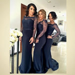 Navy Blue lace long sleeve bridesmaid dresses UK