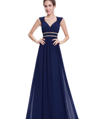 Navy Cheap Long Double V Elegant Bridesmaid Dress 2017