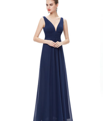 Navy Double V Elegant Bridesmaid Dress