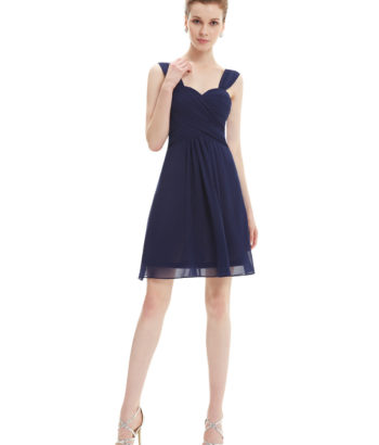 Navy Ruffles Chiffon Short Bridesmaids Dress