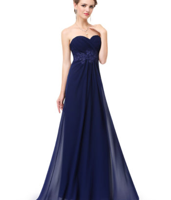 Navy Strapless Long Sweetheart Neckline Bridesmaid Dress