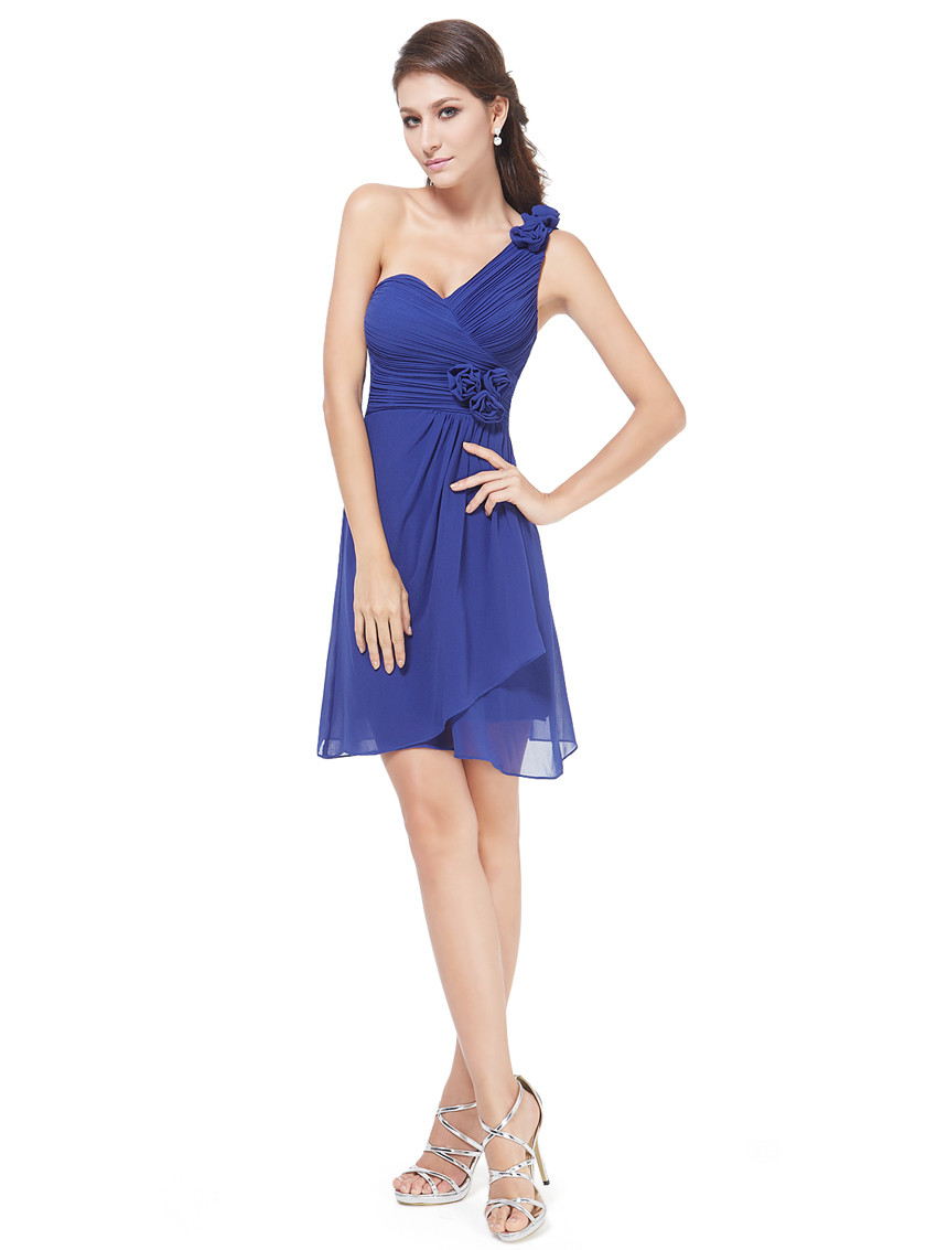 Non-removable flowers on the shoulder blue bridesmaid dress
