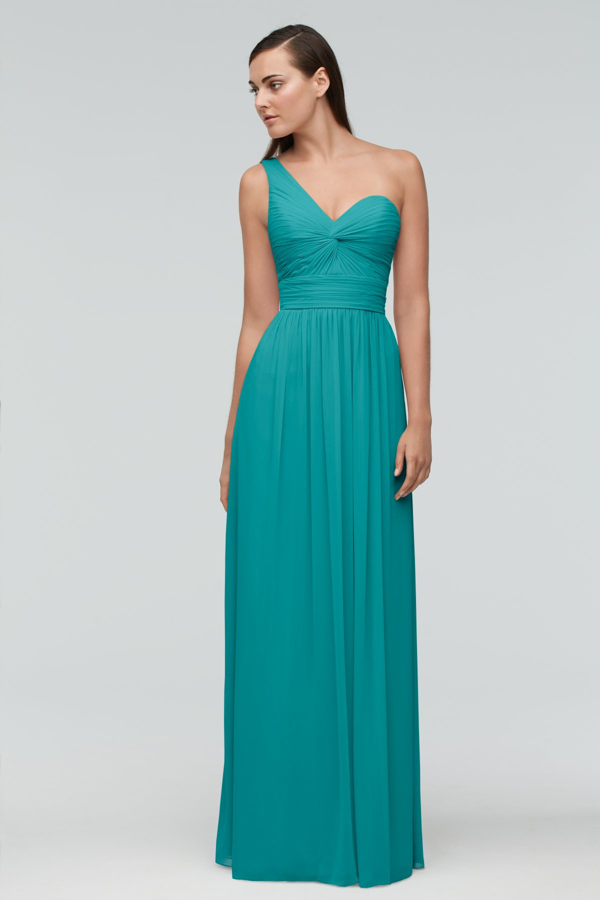 One Shoulder Aqua Green Long Bridesmaid Dress