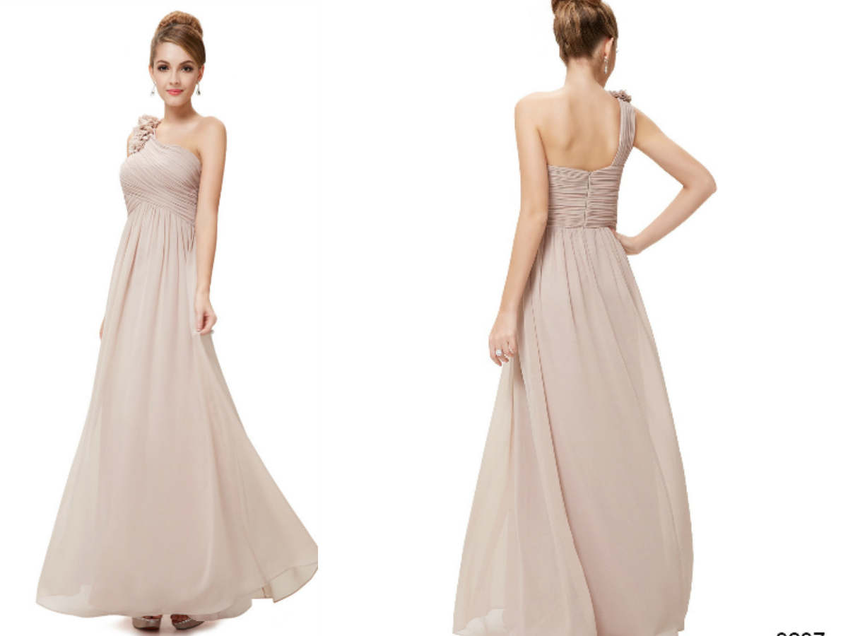 One Shoulder Beige Bridesmaid Dress