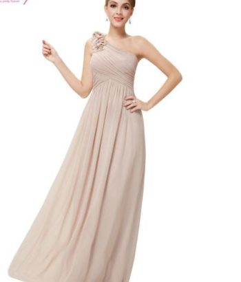 One Shoulder Floral Padded pink bridesmaid dress