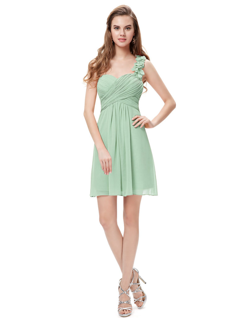One Shoulder Flowers Sage Bridesmaid Dress UK