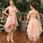 One Shoulder High Low Pink Bridesmaid Dress With Bow Elegant Bridesmaid Dress