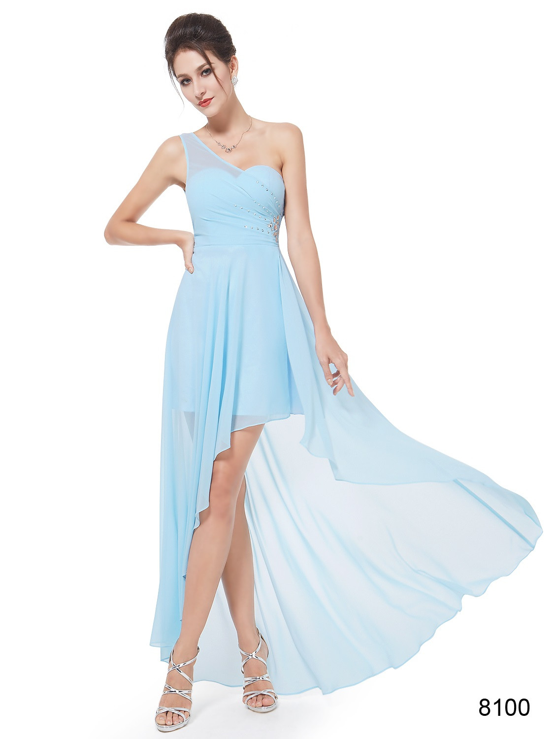 One Shoulder Rhinestones Baby Blue Chiffon Hi-low Bridesmaid Dress