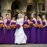 Plus Size purple bridesmaid dresses with purple flowers