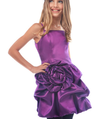 Purple bridesmaid dresses with flower