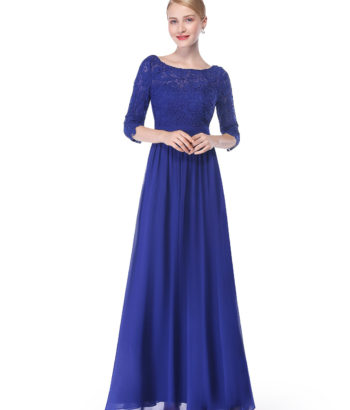 Royal Blue Bridesmaid Dress with elegant long sleeves