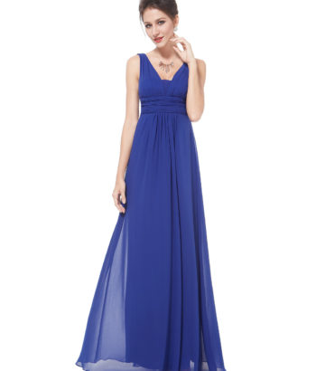 Royal Blue Deep V-Neck Bridesmaid Dress UK