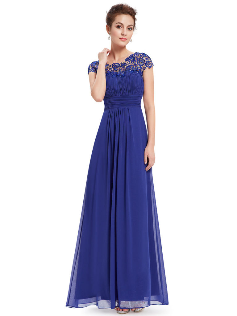 Royal Blue Lacey Neckline Ruched Bust Bridesmaid Dress