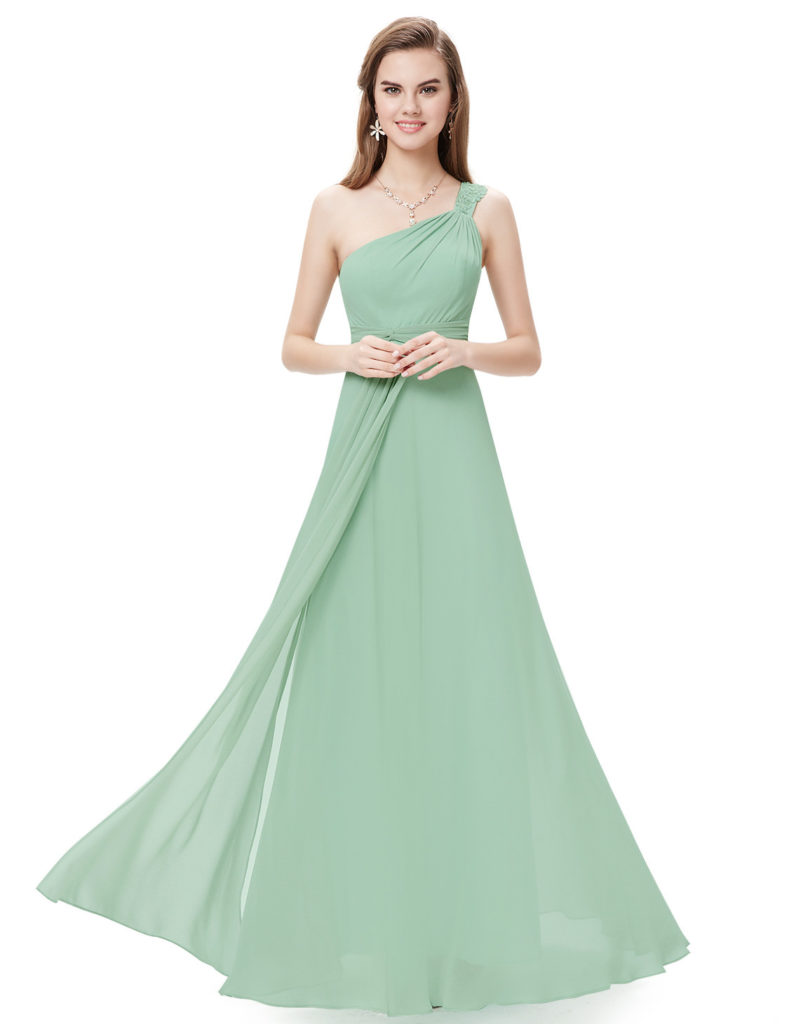 Sage Green Sage Flowers One Shoulder Rhinestone Bridesmaid Dress