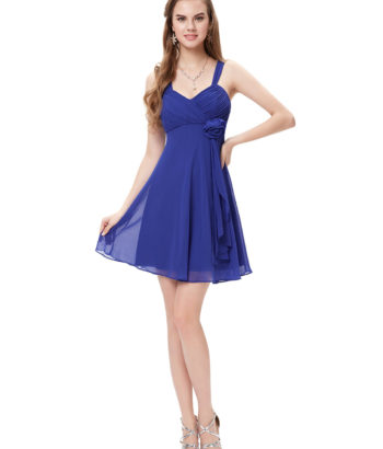Sapphire Blue Flower Unique Bridesmaid Dress Short