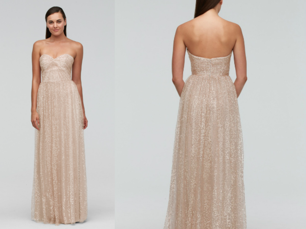 Sequin Tulle Sweetheart beige Bridesmaid Dress