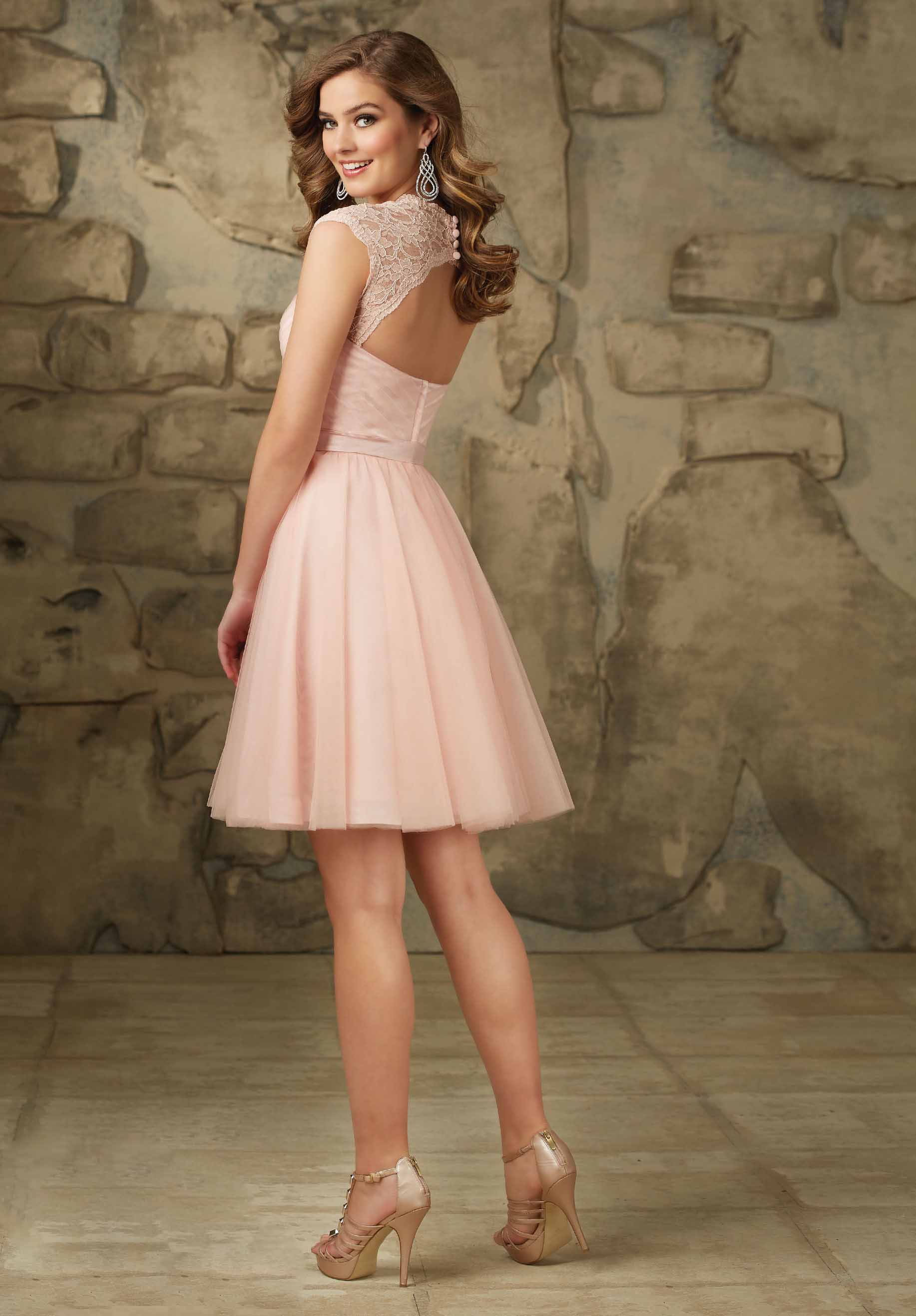Sexy Sweetheart Capped Pink Sash Short Bridesmaid Gown