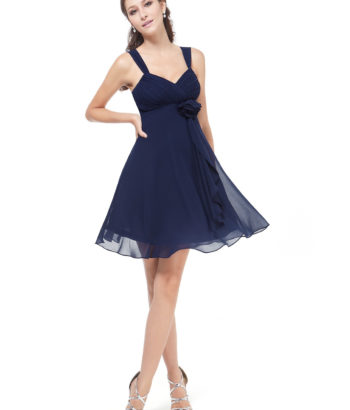 Short Navy Flower Bridesmaid Dress with straps