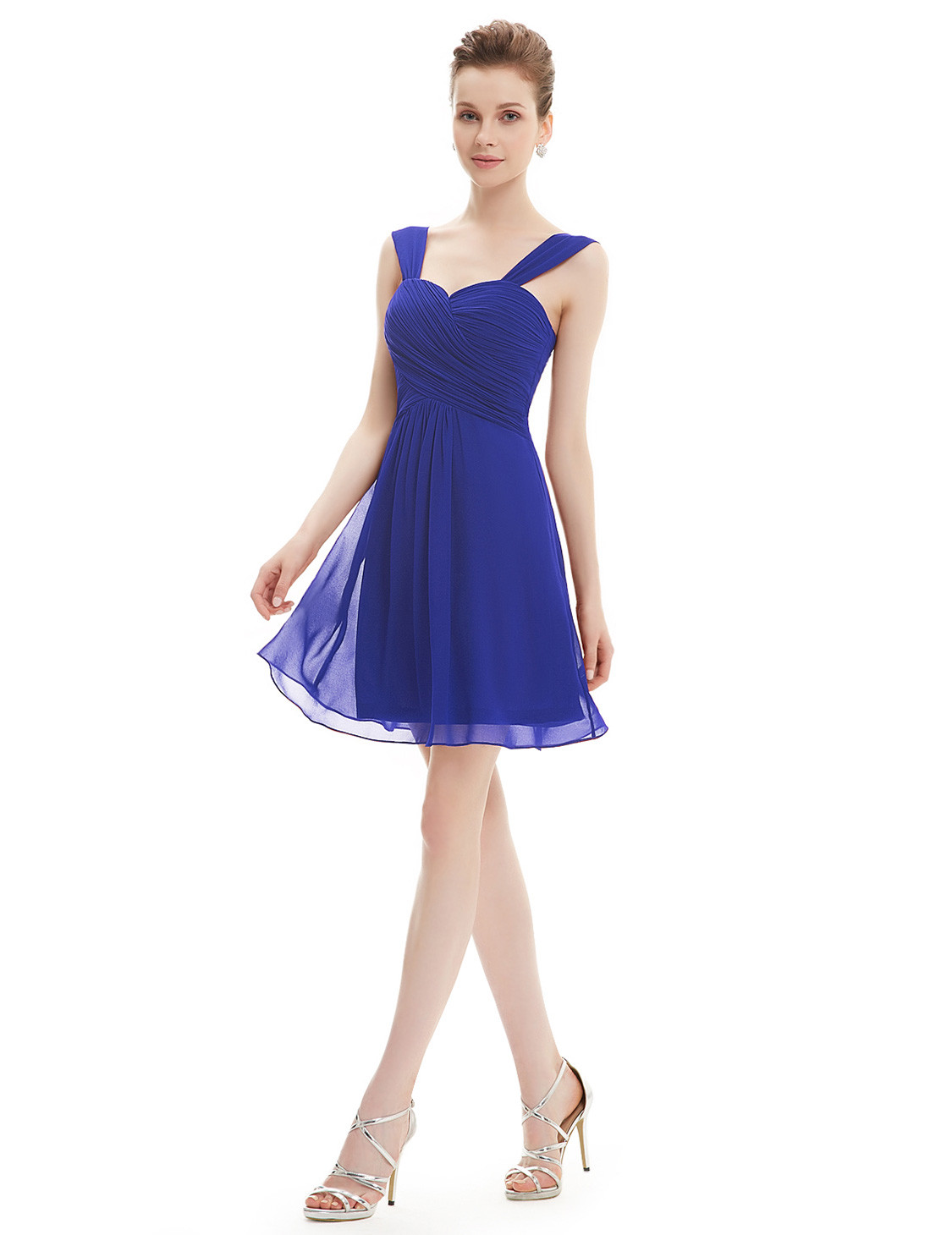 Short Royal Blue Ruffles Chiffon Bridesmaids Dress