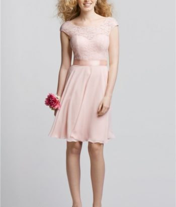 Short Sleeve Blush Pink Bridsmaid Dress