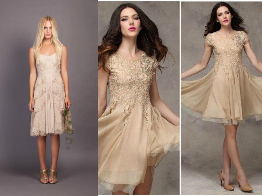 Short beige lace bridesmaid dresses