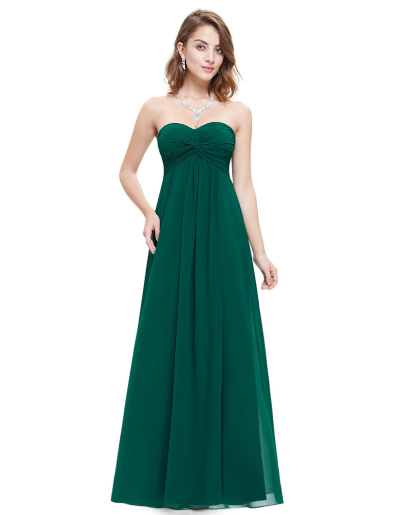 Strapless Elegant Green Bridesmaids Dress