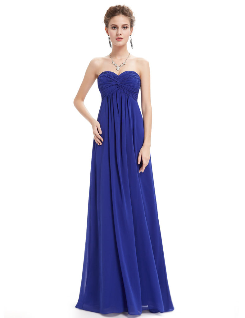 Strapless Royal Blue Sweetheart Bridesmaid Dress