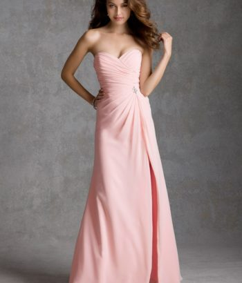 Strapless Sweetheart Crisscross Pleated Bodice A-line Floor Length Chiffon pink Dress