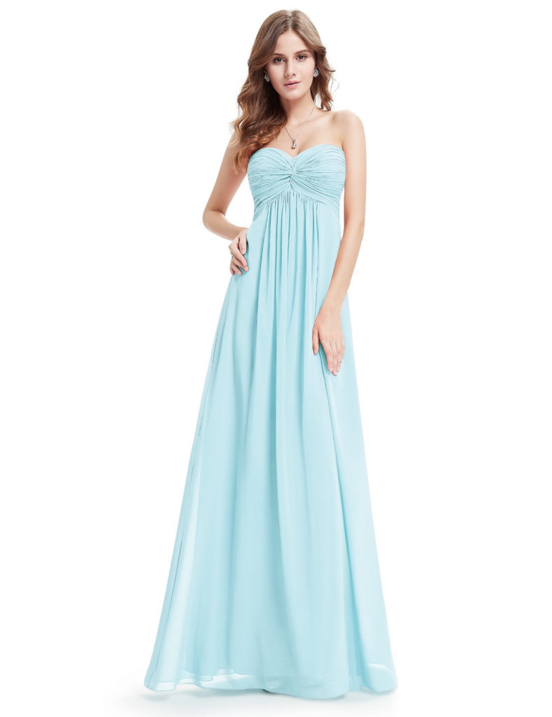 Sweetheart Strapless Light Blue Bridesmaid Dress