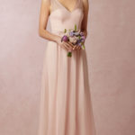 V-neck A-line Sleeveless Natural Floor-length pink bridesmaid dress