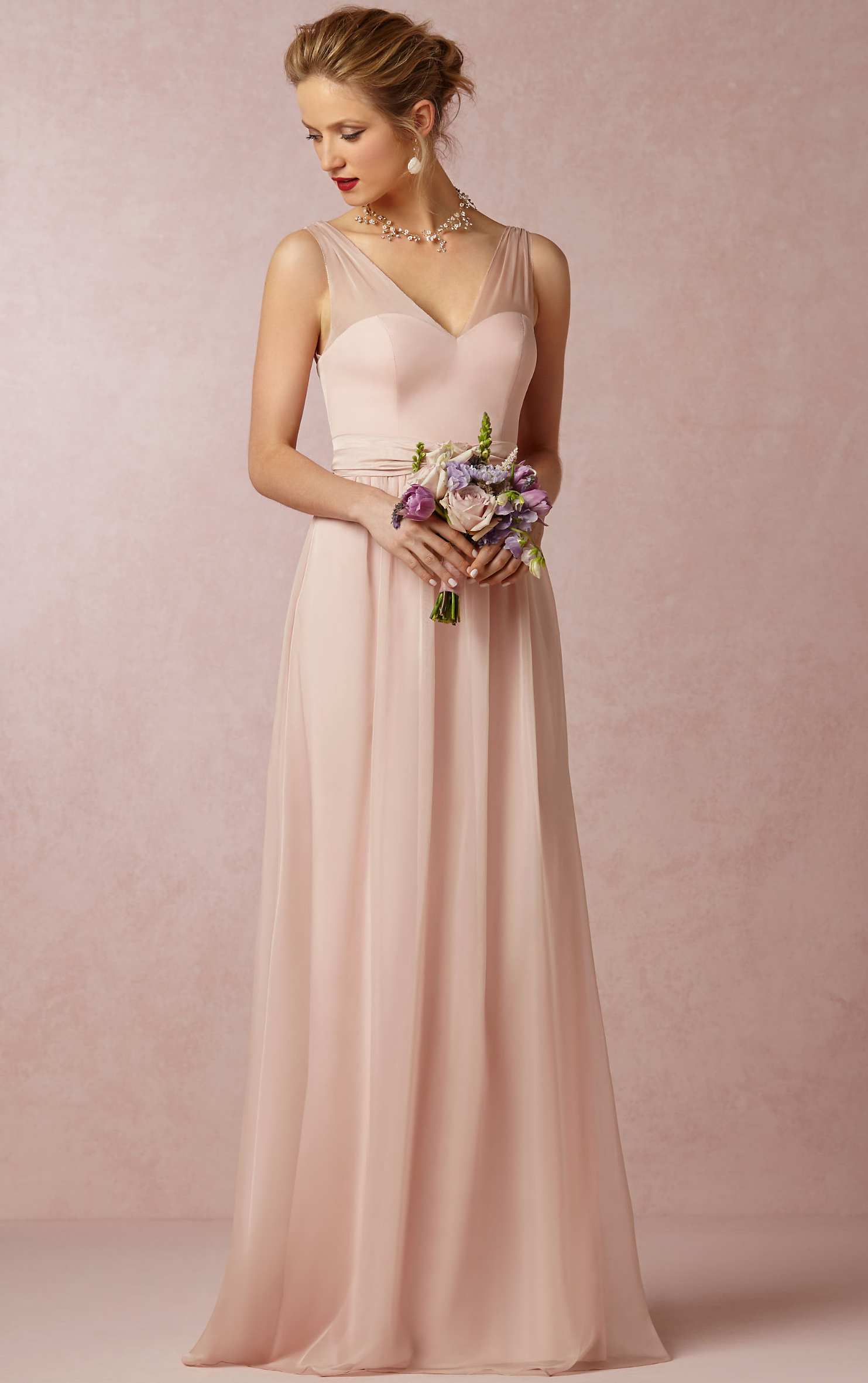V-neck A-line Sleeveless Natural Floor-length pink bridesmaid dress ...