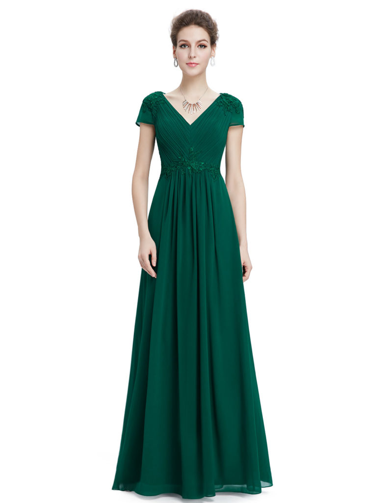 V-neck Ruched Deep Geen Bridesmaid Dress