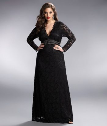 V neck plus size black bridesmaid dresses with Long sleeves