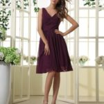 V neck short deep purple bridesmaid dresses
