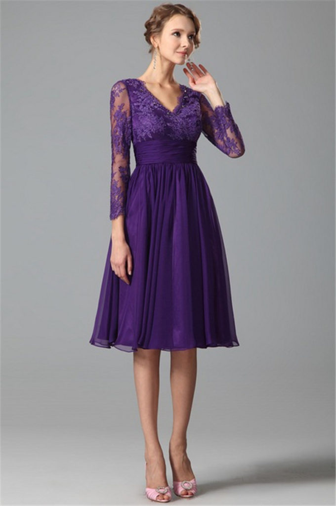 Vintage Lace purple bridesmaid dresses