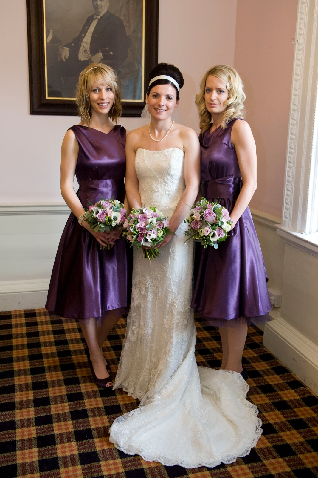 Vintage Unique purple bridesmaid dress with flowers