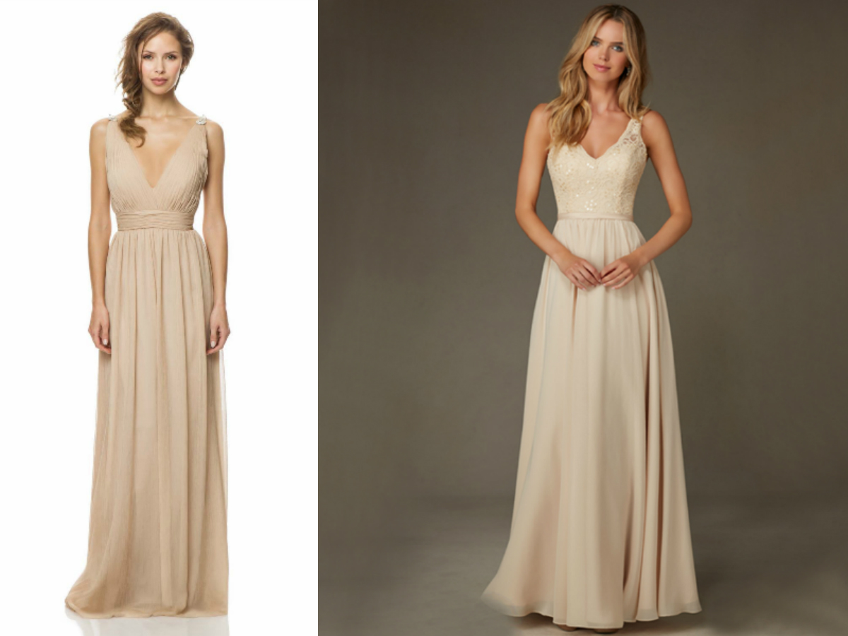 beige bridesmaid dress v strapless neckline