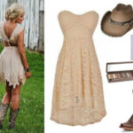 beige bridesmaid dress with cowboy boots