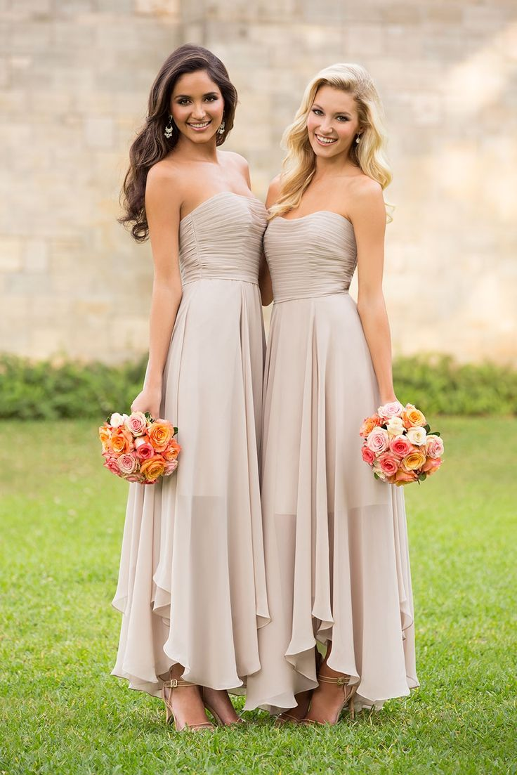 beige bridesmaid dresses with pink flowers