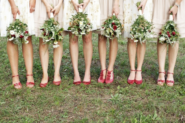 beige bridesmaid dresses with red shoes