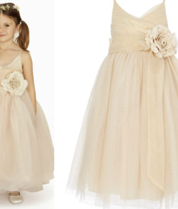 beige double straps ankle length tulle layered flower girl dress