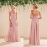 blush pink bridesmaid dresses full length