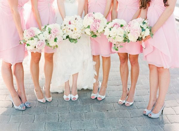 blush pink bridesmaid dresses with white heel