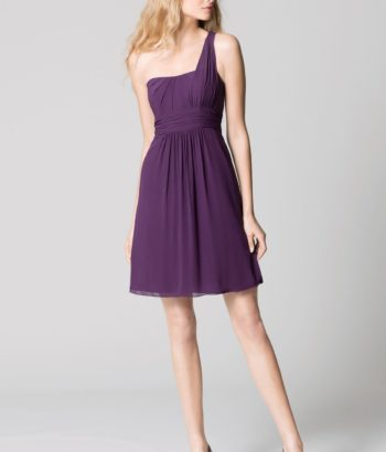 chiffon dark purple bridesmaid dresses knee length